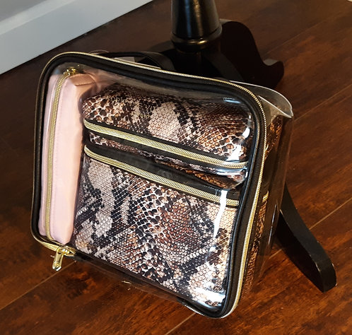 Travel Cosmetic Bag Set - Snake Print