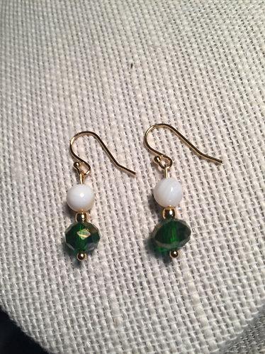 Green Faceted & White Shell Earrings