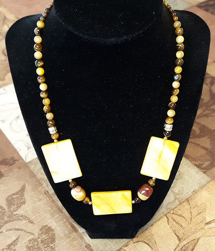 Amber Rectangle Shell & Tiger Eye Necklace