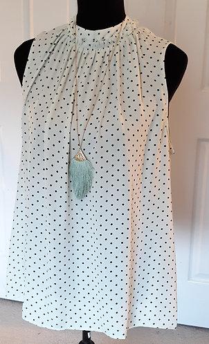 Pale Mint Polka Dot Tie-Back Shell