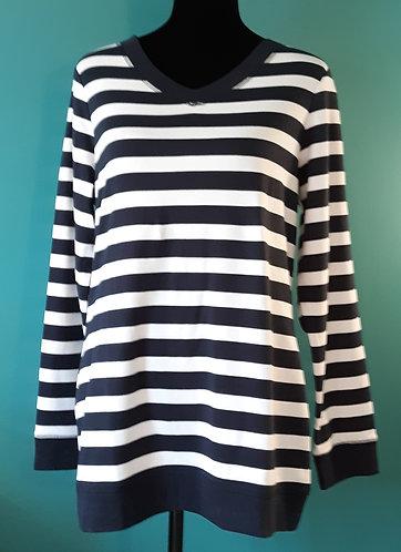 Navy & White Striped V-Neck Top