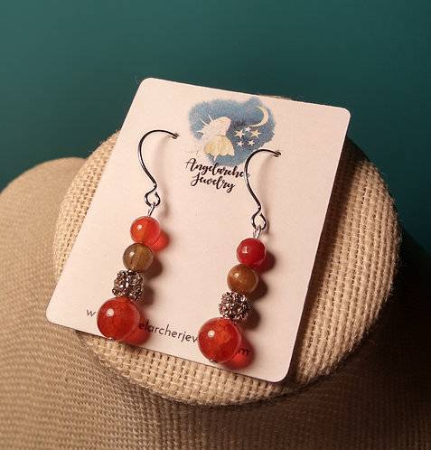 Matching Earrings for Butterfly Pendant Necklace - Orange & Brown
