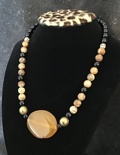 Dyed Amber Agate & Picture Jasper Necklace