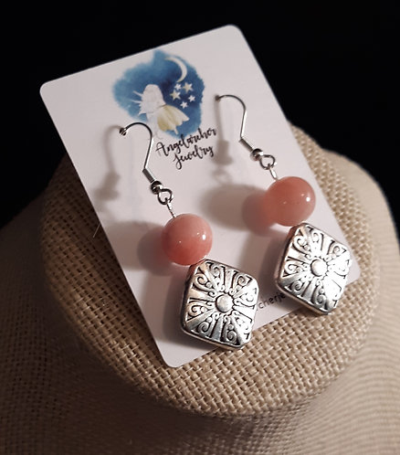 Silver-Plated Scroll Earrings w/Pink Quartzite