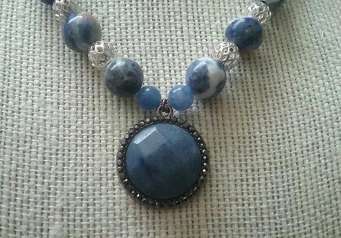 Blue Lapis Reconstituted Pendant Necklace