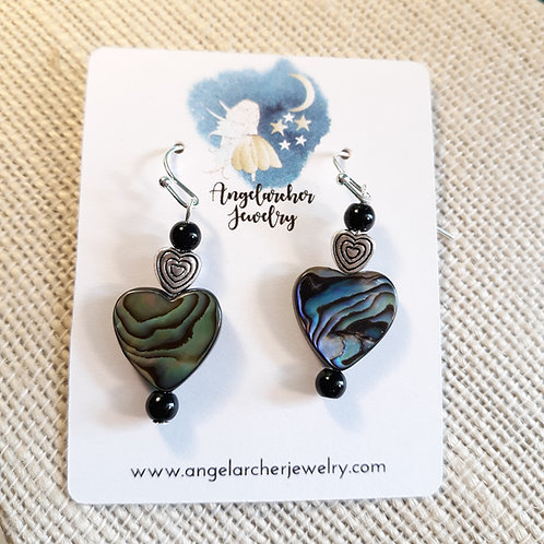 Abalone Heart Earrings w/Black Jasper