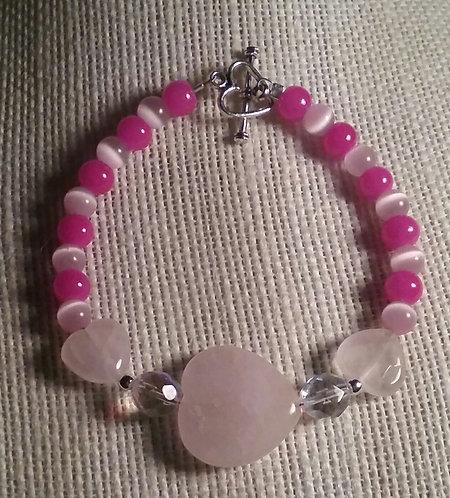 Rose Quartz Heart, Fuschia & Cats Eye Bracelet