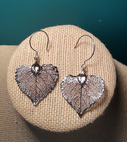 Silver-Plated Leaf Earrings