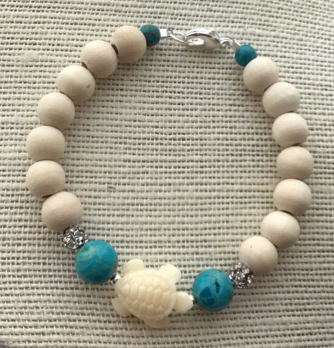Natural Wood Bead Bracelet w/Turtle & Turquoise Imperial Jasper