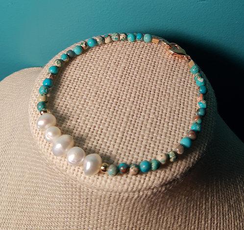 Freshwater Pearl & Turquoise Imperial Jasper Bracelet