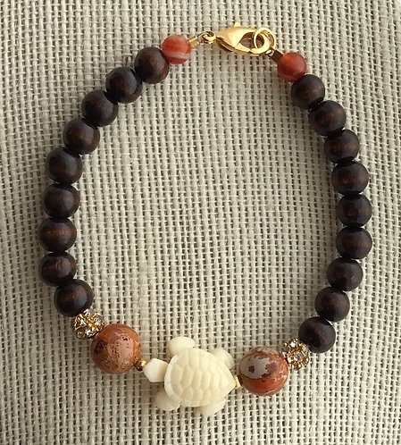 Wood Bead Bracelet w/Turtle & Orange Imperial Jasper