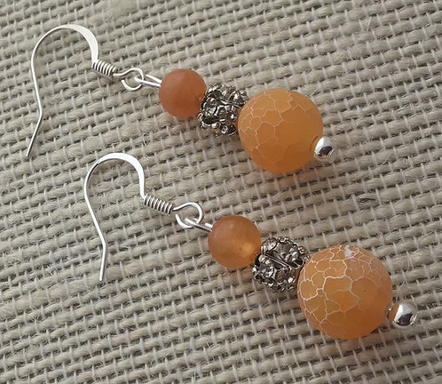 Orange Crackle Agate Earrings