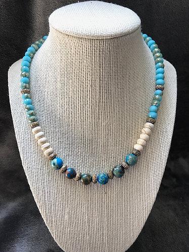 Dyed Imperial Jasper, White Howlite & Aqua Glass Necklace