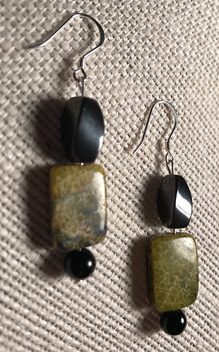 Yellow Turquoise Jasper Stone Earrings