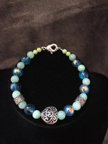 Antique Swirl Heart Bracelet - Aqua