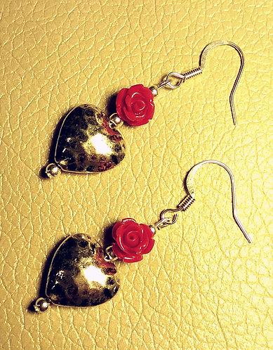 Heart & Mini Red Rose Earrings