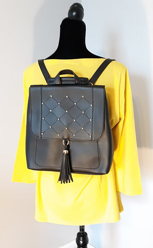 Black & Gold Studded Tassel Backpack