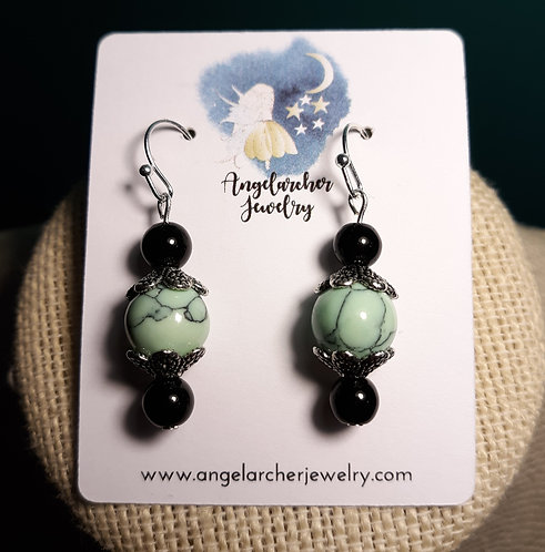 Mint Green Howlite Earrings w/Scallops