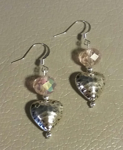 Light Pink Crystal Heart Earrings
