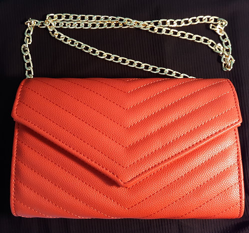 Red Quilted Clutch Bag with Chain Strap