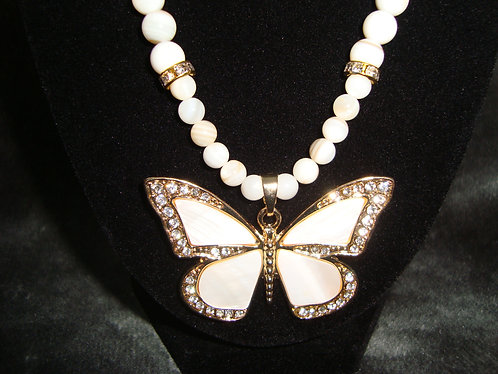 White Rhinestone Butterfly Necklace