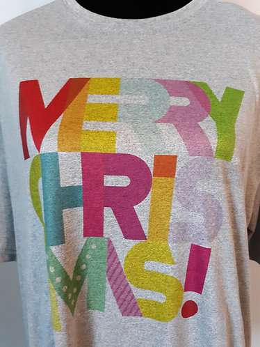 Merry Christmas Tee - Heather Gray - Adult XL