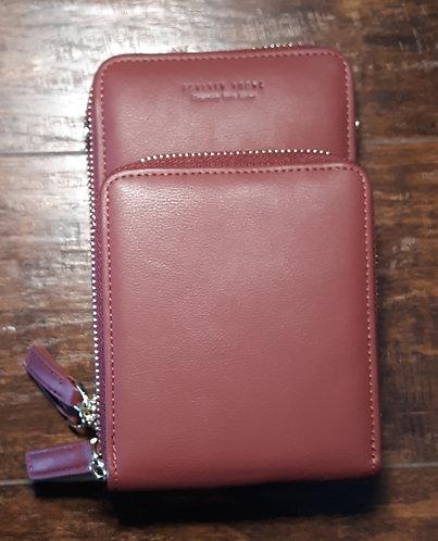 Deluxe Cell Phone Crossbody Wallet - Burgundy