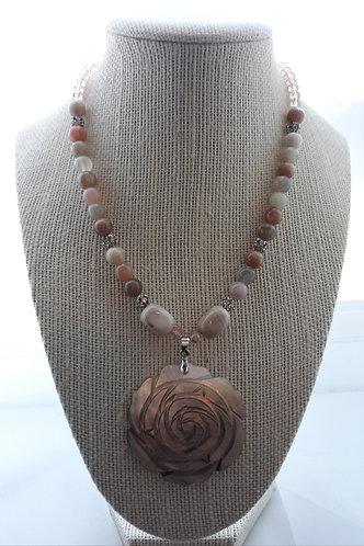 Sunstone & Pearl Rose Pendant Necklace