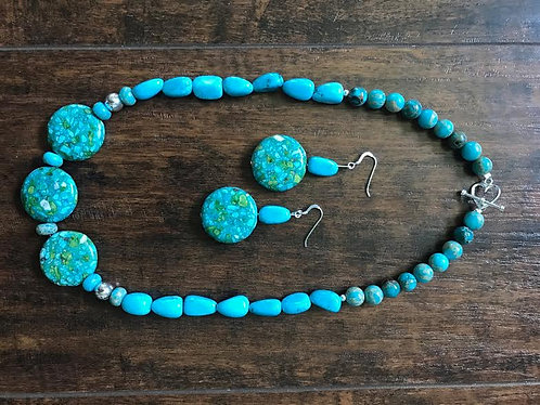 Turquoise Imperial Jasper Necklace & Earrings Set