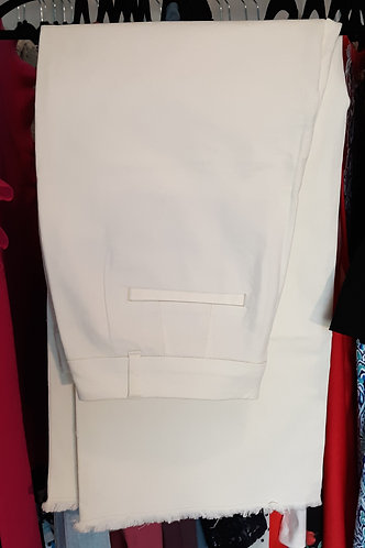 Wide-Leg Frayed-Hem Crop Pants - Cream