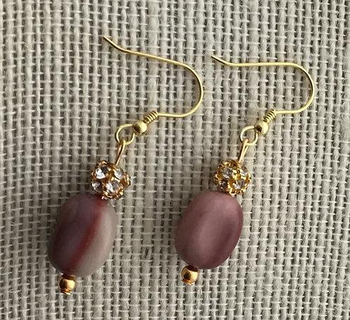 Yellow Jasper (Burgundy) Stone Earrings