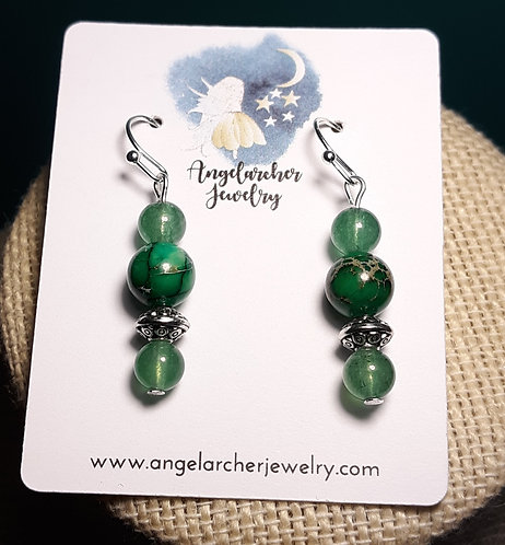 Green Imperial Jasper Earrings w/Green Aventurine