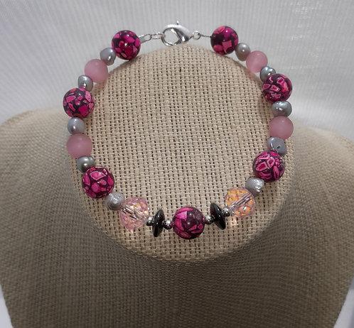 Hot Pink Howlite Bracelet