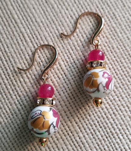 Floral Bead Earrings w/Rhinestones
