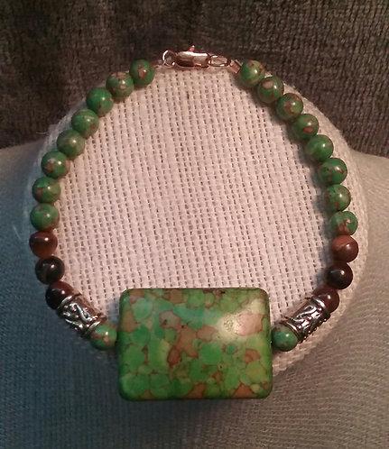 Green Turquoise & Tiger Eye Bracelet