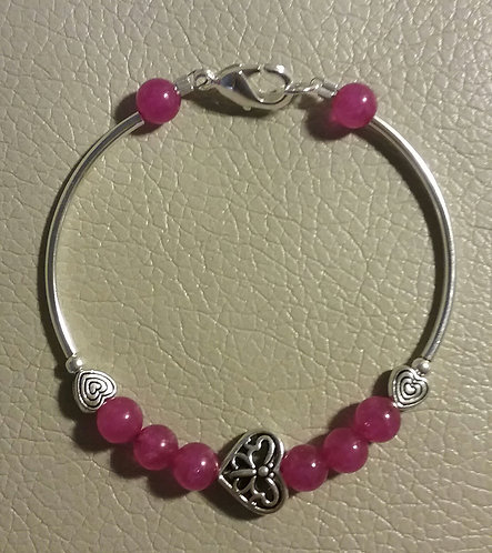 Fuschia Butterfly Heart Bar Bracelet