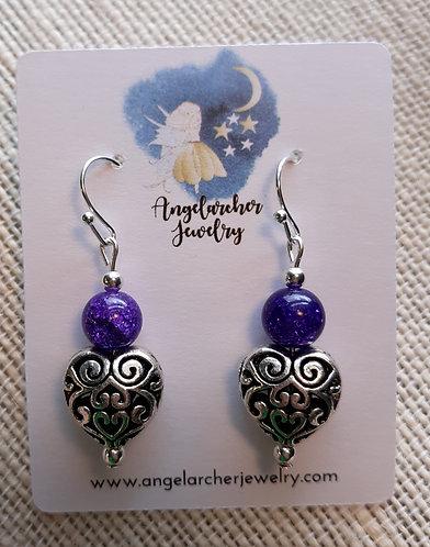 Purple Crackle Quartzite Antique Heart Earrings