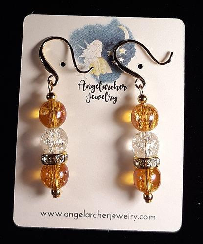 Amber Crackle Earrings