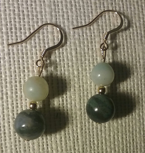 Green Fancy Jasper & Amazonite Earrings