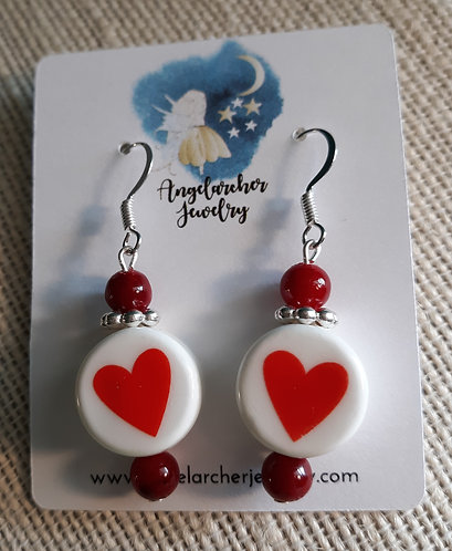 Red & White Chunky Heart Earrings