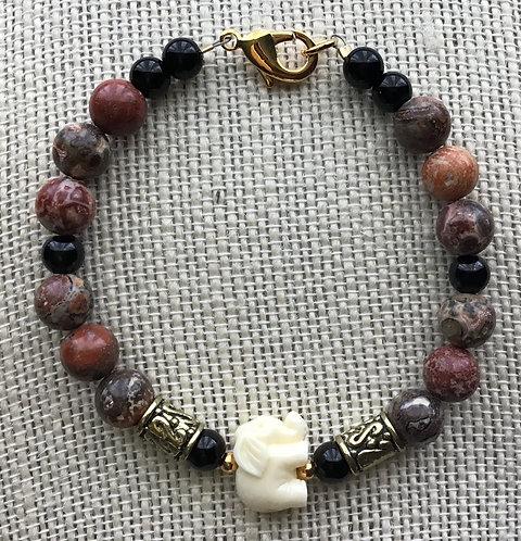 Leopard Jasper Elephant Bracelet