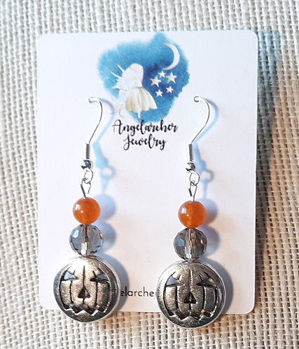 Silver Metal Pumpkin Earrings
