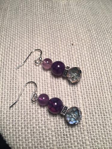 Purple Crackle Earrings