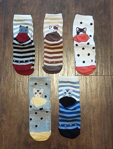 Assorted Fun Socks - Kittens (Above-Ankle Length)