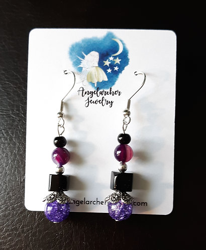 Purple Quartz Earrings w/Black Cubes