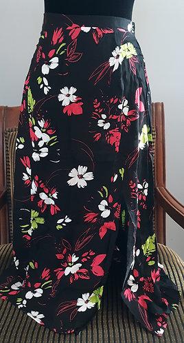 Black Floral Lightweight Midi Skirt