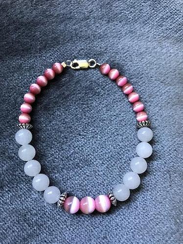 Pink Cats Eye & Quartzite Bracelet