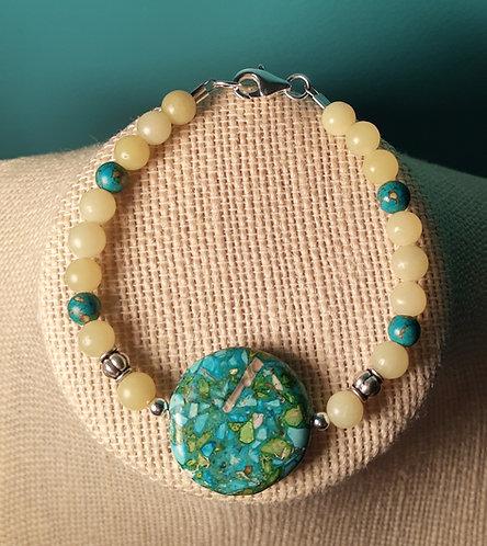 Blue Turquoise Pendant Bracelet