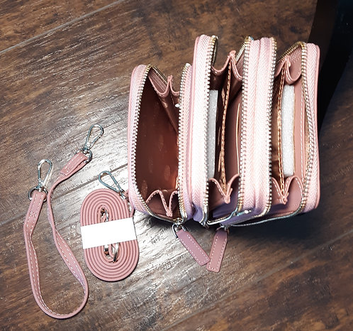 Deluxe Cell Phone Crossbody Wallet - Rose Pink