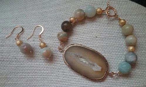 Amazonite & Agate Pendant Bracelet & Earrings Set